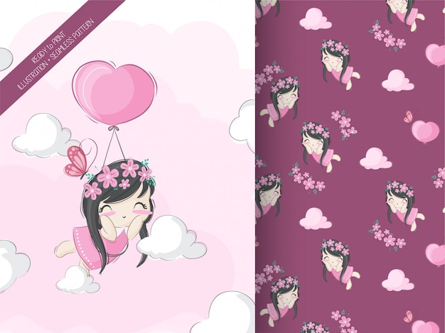 Cute little girl flting with air balloon seamless pattern
