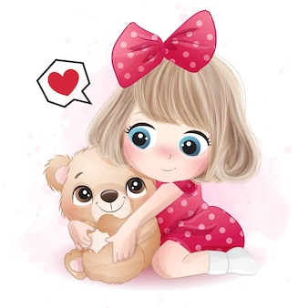 곰 그림을 안고있는 귀여운 소녀