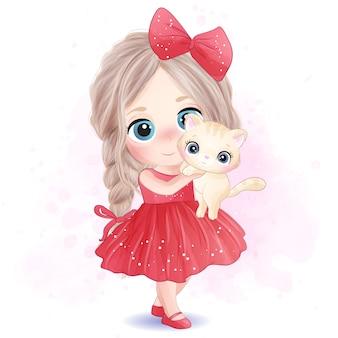 키티 일러스트를 껴안고 귀여운 소녀