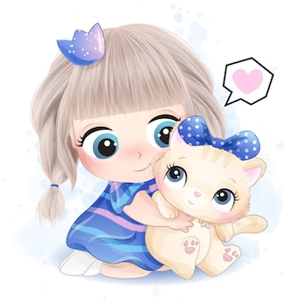 Cute little girl hugging a kitty illustration
