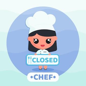 레스토랑 폐쇄 기호 만화 캐릭터 그림을 들고 요리사 제복을 입은 귀여운 소녀