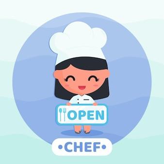 레스토랑 오픈 사인 만화 캐릭터 그림을 들고 요리사 제복을 입은 귀여운 소녀