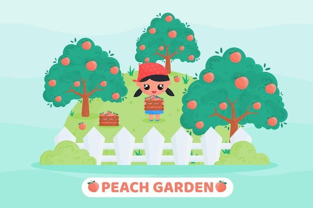 과일 정원에서 복숭아를 수확하는 농부 제복을 입은 귀여운 소녀