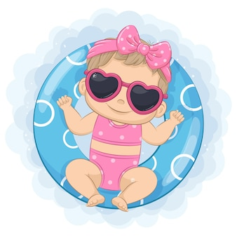 A cute little girl is floating in a swimming circle cartoon illustration