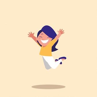 Cute little girl jumping avatar character