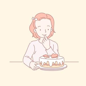 Милая маленькая девочка смотрит на вкусный торт ко дню рождения в линейном искусстве