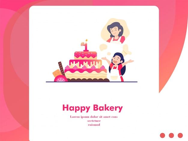 フラットスタイルで母親に甘いケーキを作るかわいい女の子