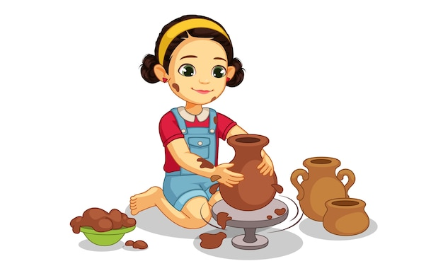 Cute little girl making pottery on wheel illustration