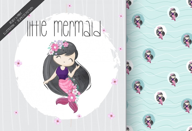 Cute little girl mermaid with seamless pattern