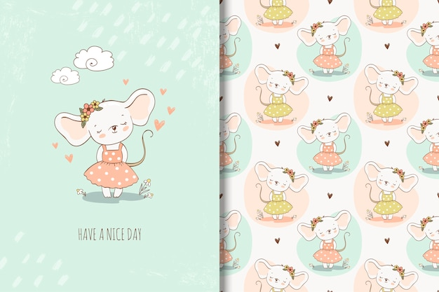 Cute little girl mouse in hand drawn style illustration. girlish repeating background and card