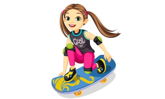 Милая маленькая девочка на скейтборде делает крутые трюки