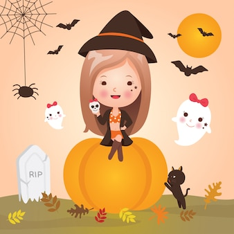 Милая маленькая девочка на хэллоуин