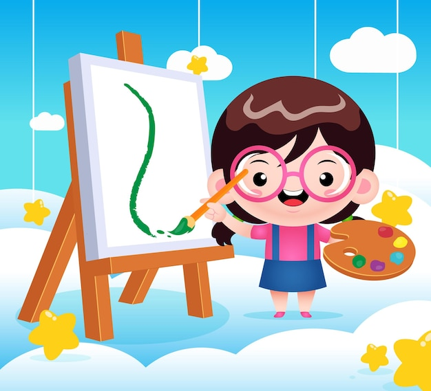 Cute little girl painting on cloud