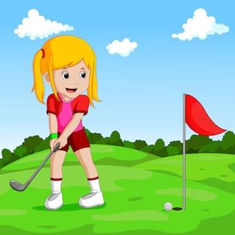 귀여운 소녀 골프