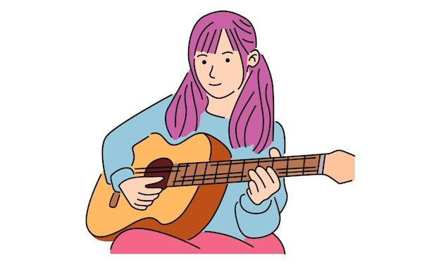 행복한 얼굴 표정으로 기타 악기를 연주하는 귀여운 소녀