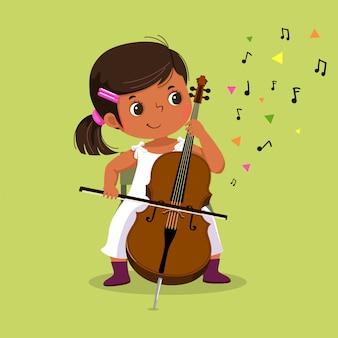 Милая маленькая девочка играет на виолончели