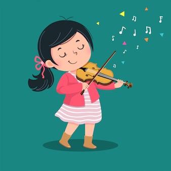 Милая маленькая девочка играет на скрипке