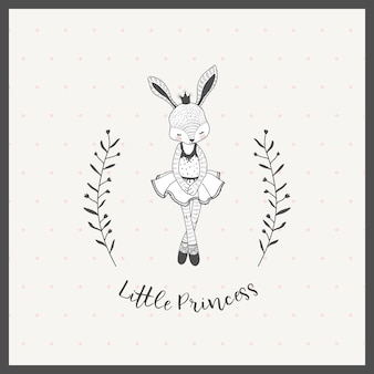 Cute little girl rabbit ballerina cartoon hand drawn
