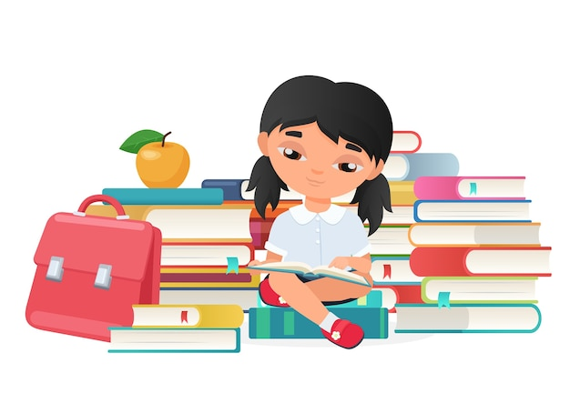 Милая маленькая девочка читает изолированные книги