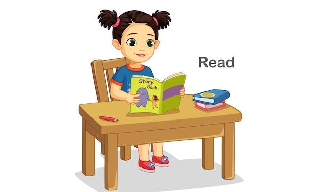 이야기 책 그림을 읽고 귀여운 소녀