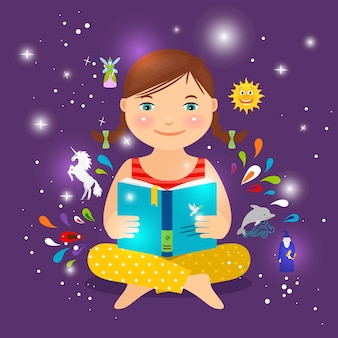 Cute little girl reading book about magic, unicorn and fairy   illustration