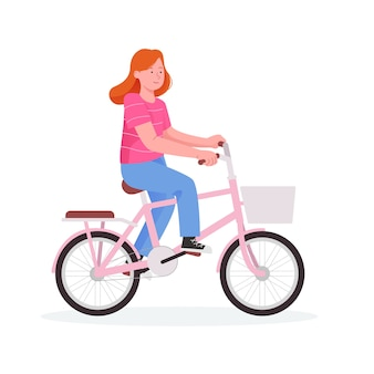 Cute little girl riding a bicycle flat cartoon illustration