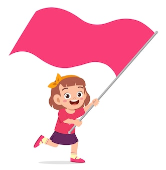 실행 하 고 깃발을 들고 귀여운 소녀