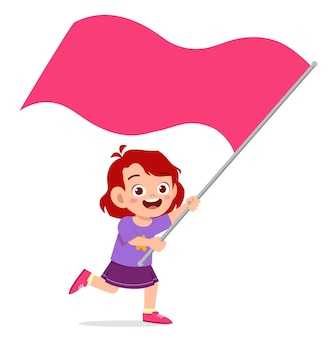 かわいい女の子が実行し、旗を保持しています