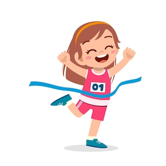 かわいい女の子がマラソンレースで走って勝つ