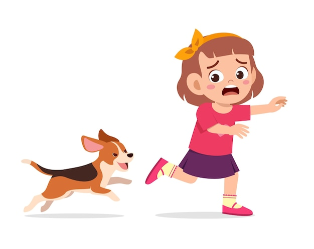 Cute little girl scared because chased by bad dog