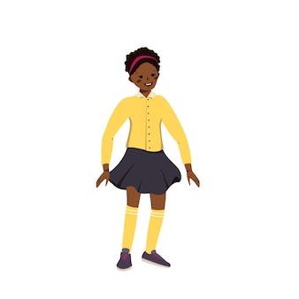 A cute little girl in a skirt and shirt with dark skin and black curly hair. happy smiling african american kid. teenager with face and eyes. world children day. vector illustration