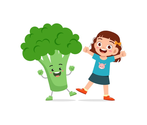 Cute little girl stands with broccoli character