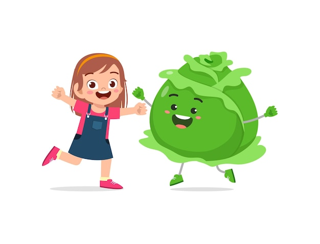 Cute little girl stands with cabbage character