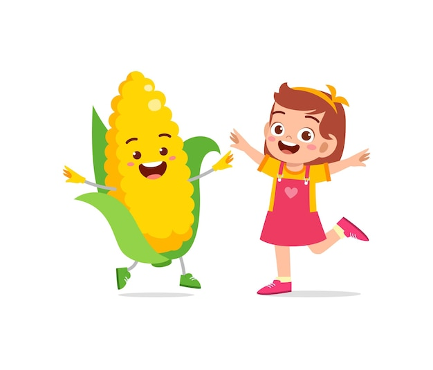 Cute little girl stands with corn character