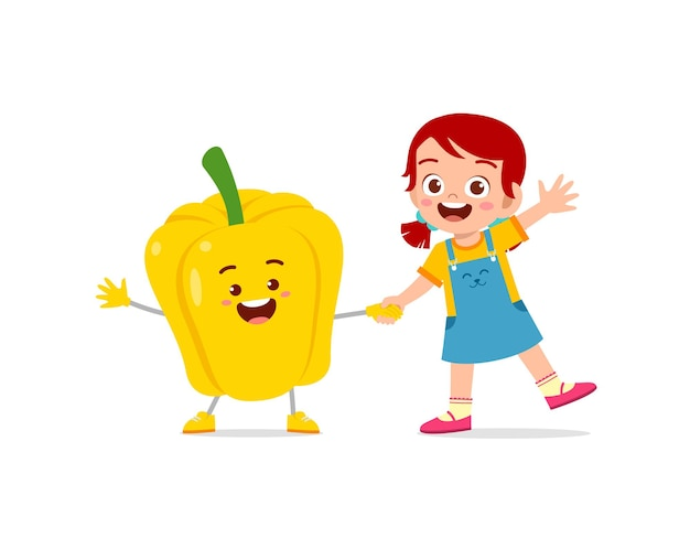 Cute little girl stands with paprika character