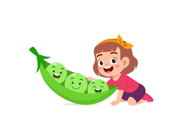 Cute little girl stands with pea character