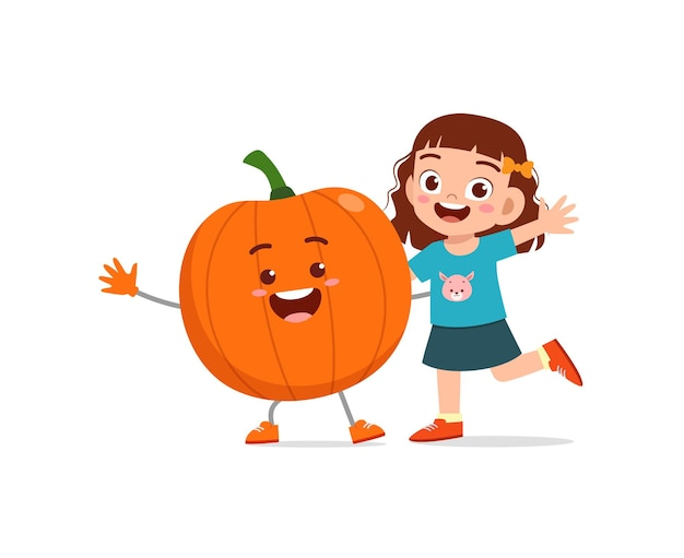 Cute little girl stands with pumpkin character