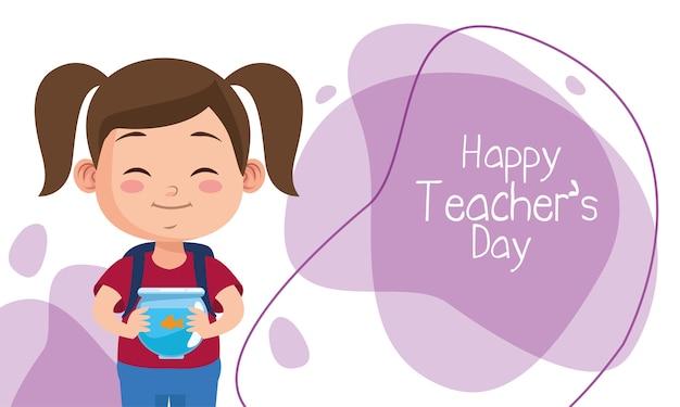 Милая маленькая девочка студент поднимает аквариум с надписью день учителя