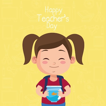 Cute little girl student lifting aquarium with teachers day lettering