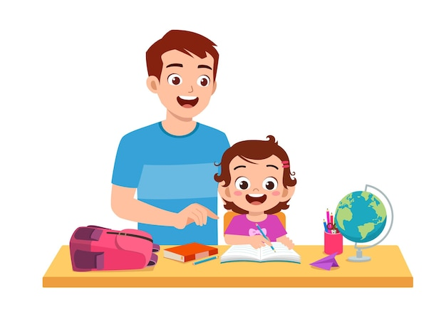 Cute little girl study with father at home together