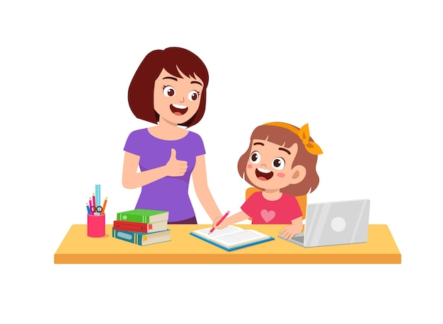 Cute little girl study with mother at home together