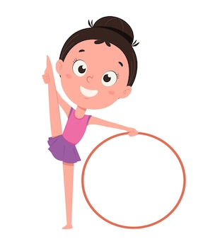 훌라후프로 훈련하는 귀여운 소녀. 재미있는 만화 캐릭터