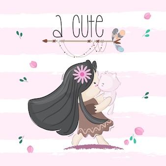 Cute little girl tribal  illustration