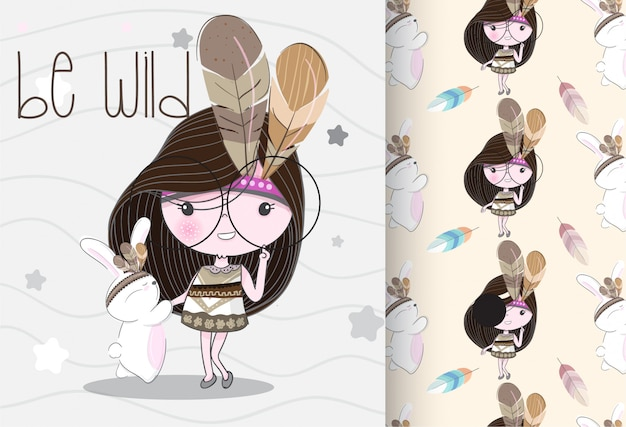 Cute little girl tribal with seamless pattern
