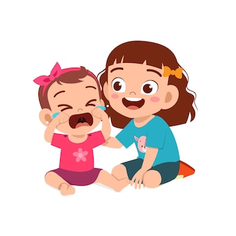 Cute little girl try to comfort crying baby sister