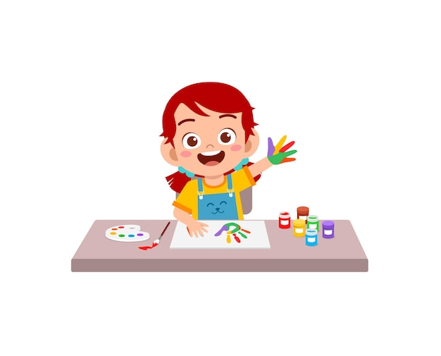 Cute little girl using paint to hand for art