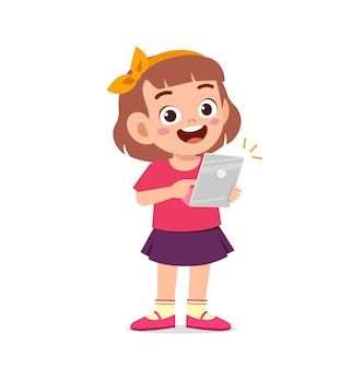 Cute little girl using smartphone and internet