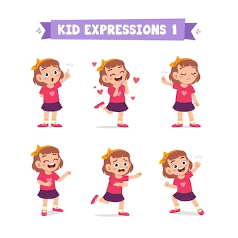 Cute little girl in various expressions and gesture set