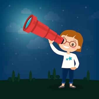 望遠鏡の漫画を見ているかわいい少女