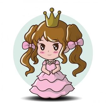 お姫様、おとぎ話の漫画のコンセプトを着てかわいい女の子。